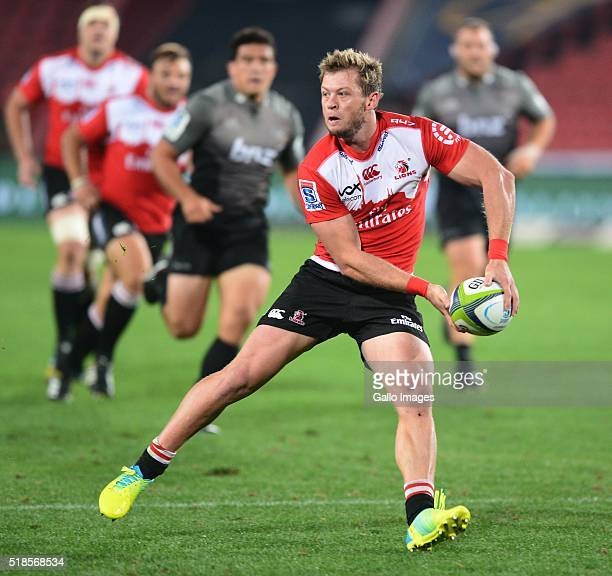 Ruan Combrinck of the Lions during the Super Rugby match between Emirates Lions and Crusaders at Emirates Airline Park on April 01 2016 in...