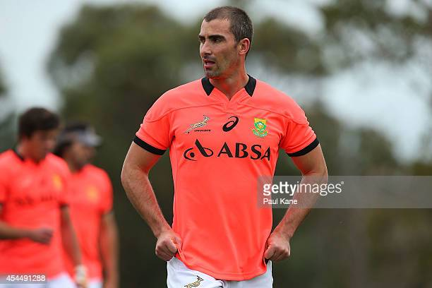 Ruan Pienaar looks on during a South African Springboks training session at Hale School on September 2 2014 in Perth Australia