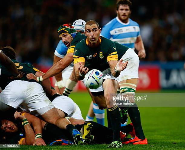 Ruan Pienaar of South Africa dispatches the ball during the 2015 Rugby World Cup Bronze Final match between South Africa and Argentina at the Olympic...