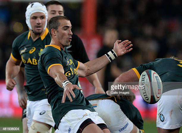 Ruan Pienaar of South Africa kicks during The Castle Lager Rugby Championship 2015 match between South Africa and New Zealand at Emirates Airline...
