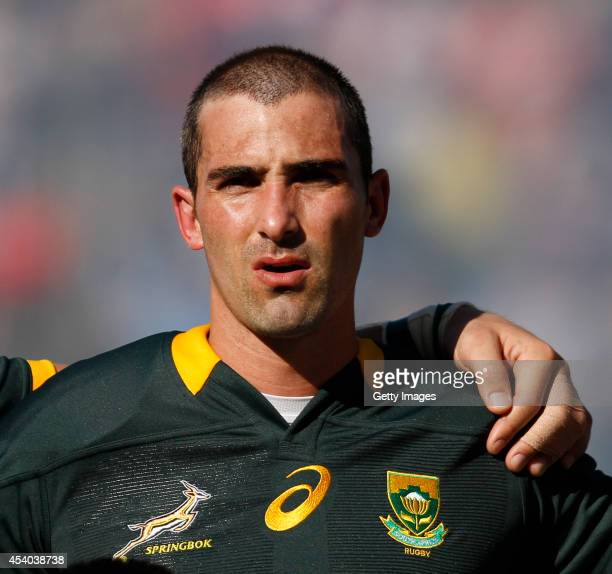 Ruan Pienaar of South Africa sing the national anthem before a match between Argentina and South Africa as part of The Rugby Championship at Padre...