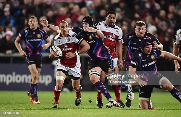 Ruan Pienaar of Ulster and Harry Williams of Exeter Chiefs during the Champions Cup Pool 5 game at Kingspan Stadium on October 22 2016 in Belfast...