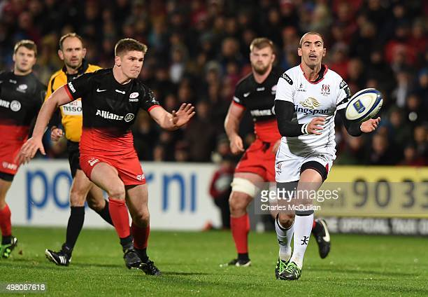 Ruan Pienaar of Ulster and Owen Farrell of Saracens during the European Champions Cup Pool 1 rugby game at Kingspan Stadium on November 20 2015 in...