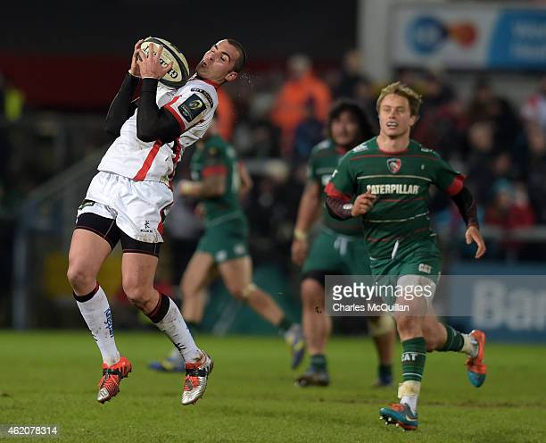 Ruan Pienaar of Ulster catches a loose ball during this afternoons European Rugby Champions Cup Pool 3 match at the Kingspan stadium on January 24...