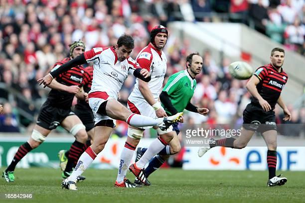 Ruan Pienaar of Ulster clears the ball downfield during the Heineken Cup quarter final match between Saracens and Ulster at Twickenham Stadium on...