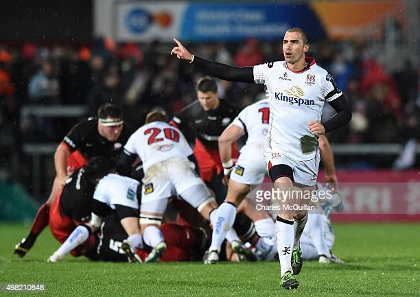 Ruan Pienaar of Ulster during the European Champions Cup Pool 1 rugby game with Saracens at Kingspan Stadium on November 20 2015 in Belfast Northern...