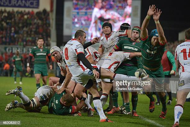 Ruan Pienaar of Ulster kicks under pressure during this afternoons European Rugby Champions Cup Pool 3 match at the Kingspan stadium on January 24...