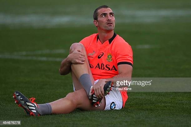 Ruan Pienaar warms up during the South Africa Springboks captain's run at Patersons Stadium on September 5 2014 in Perth Australia