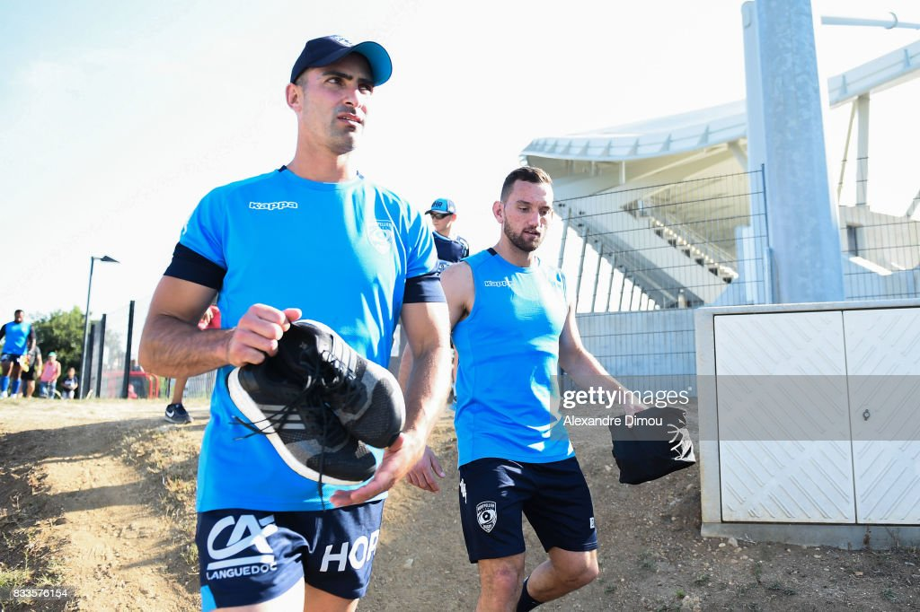 Ruan Piennar and Aaron Cruden of Montpellier during training session of Montpellier at on August 17, 2017 in Montpellier, France.
