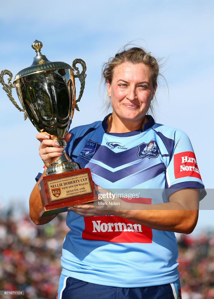 Ruan Sims of NSW is pictured with the trophy after winning the Women's Interstate Challenge match between New South Wales and Queensland at WIN Stadium on July 23, 2017 in Wollongong, Australia.