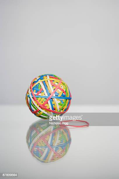 Rubber band ball and single rubber band
