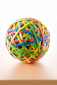 Rubber Band Ball Sitting On Desk