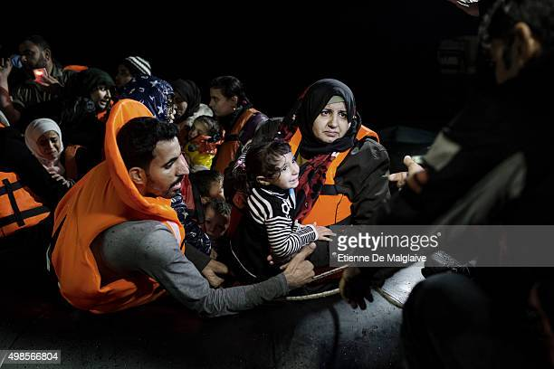 A rubber boat overcrowded with Syrian refugees had an engine failure during it's night trip but was safely towed to Skala Sikaminias port by a Greek...
