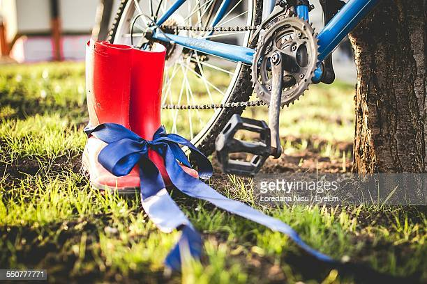 Rubber Boot With Bicycle In Field