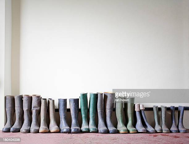 Rubber boots in a row