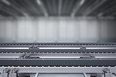3d rendering rubber conveyor belt in factory