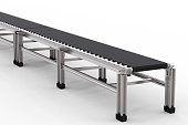 3d rendering rubber conveyor belt on white background