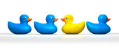 A non-conformist depiction of a yellow rubber bath duck swimming moving in a different direction to the other three blue ducks
