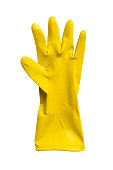 One yellow rubber protection glove isolated over white