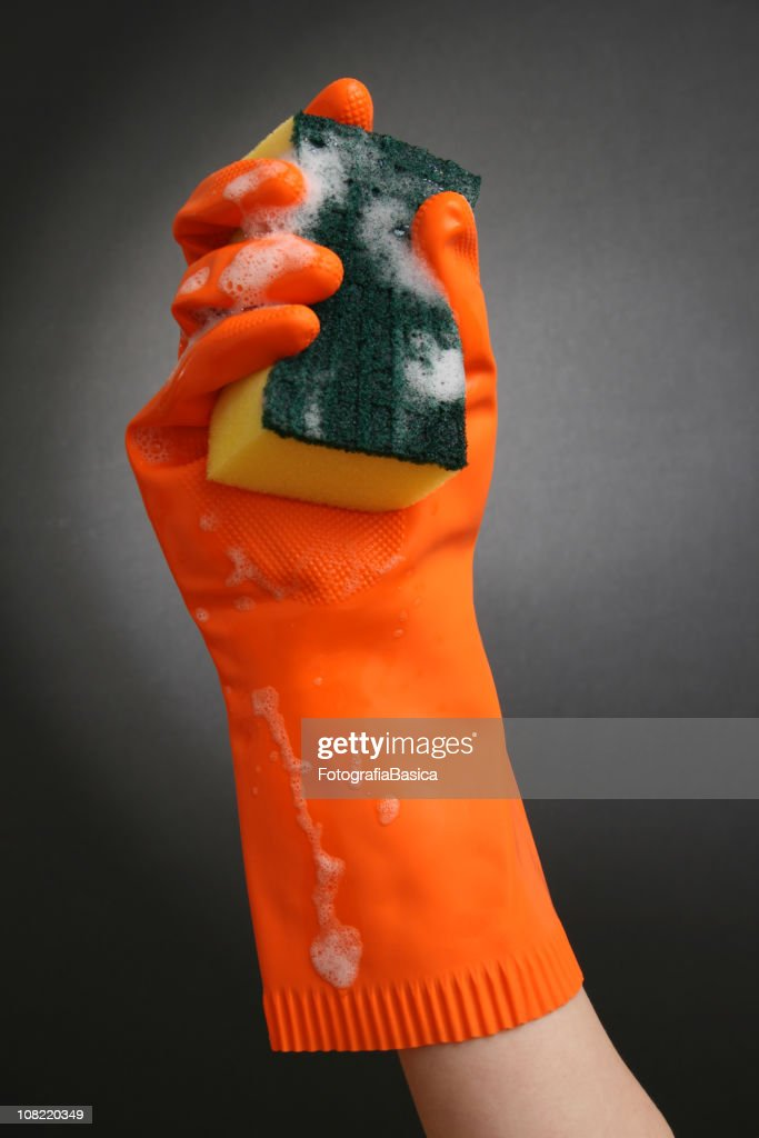 Rubber Gloved Hand Holding Cleaning Sponge : Stock Photo