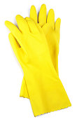 Protective rubber gloves isolated on white background.