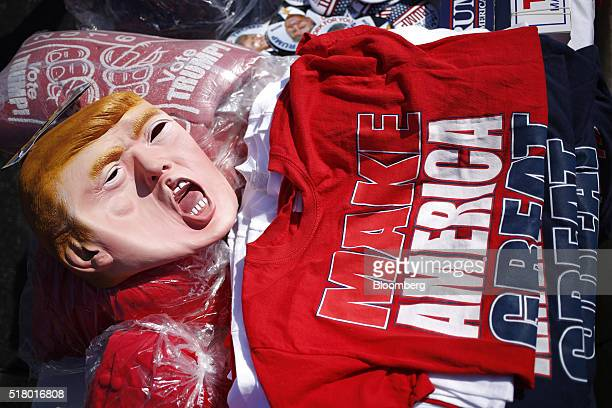 A rubber mask in the likeness of Donald Trump president and chief executive of Trump Organization Inc and 2016 Republican presidential candidate and...