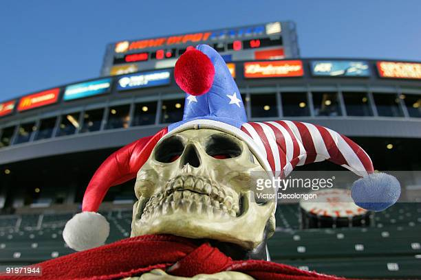 A rubber skull with a Chivas USA jester's hat rests on a wall near the field prior to the MLS match between the San Jose Earthquakes and Chivas USA...