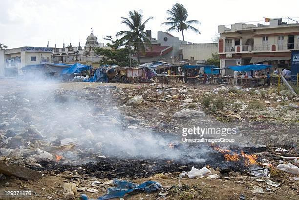 Rubbish burning on wasteground