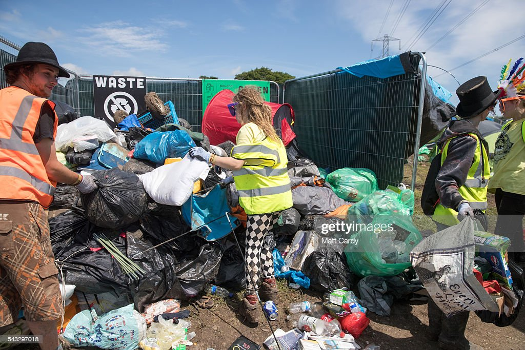Rubbish is collected at the Glastonbury Festival 2016 at Worthy Farm, Pilton on June 26, 2016 near Glastonbury, England. The Festival, which Michael Eavis started in 1970 when several hundred hippies paid just £1, now attracts more than 175,000 people.
