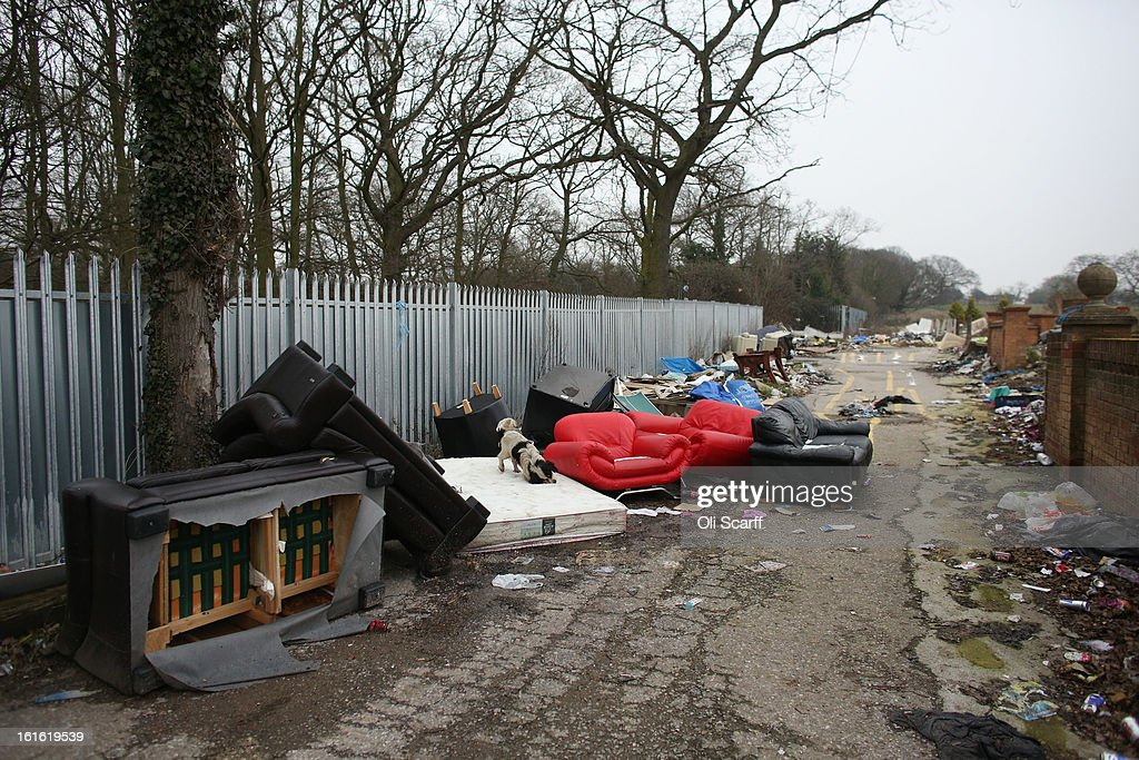 Rubbish is discarded on the portion of the Dale Farm traveller's camp which was cleared of residents and structures by Basildon Council on February 13, 2013 in Crays Hill, England. Basildon Council have approved a new site to accommodate the displaced travellers, which lies less than 800 meters from Dale Farm.Following Basildon Council's eviction in October 2011, which was estimated to have cost 7 million GBP, many travellers now reside on the access road for the legal portion of the Dale Farm site.
