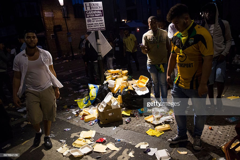 Rubbish is pilled up around a lamp post as people leave the Notting Hill Carnival on August 29 2016 in London England The Notting Hill Carnival which...