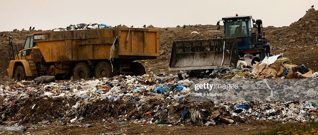 Rubbish is tipped at Patersons landfill site in Mount Vernon known locally as Patersons Tip on July 19 2007 in Glasgow Scotland The landfill site in...
