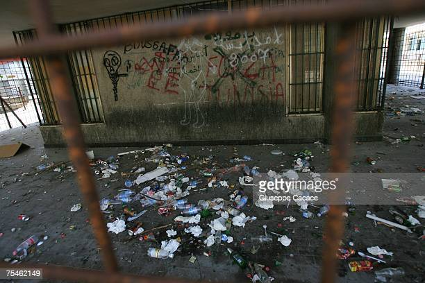 Rubbish litters one of the empty blocks of the six Via Anelli apartment blocks on July 17 2007 in Padua northern Italy The rundown Via Anelli estate...