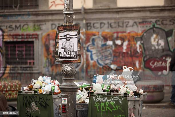 Rubbish overflows from bins in the centre of Naples on November 16 2011 in Naples Italy Italian Prime Minster designate Mario Monti has selected his...