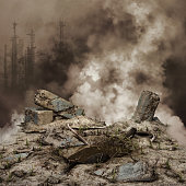 Rubble and smoke with a destroyed city in the background