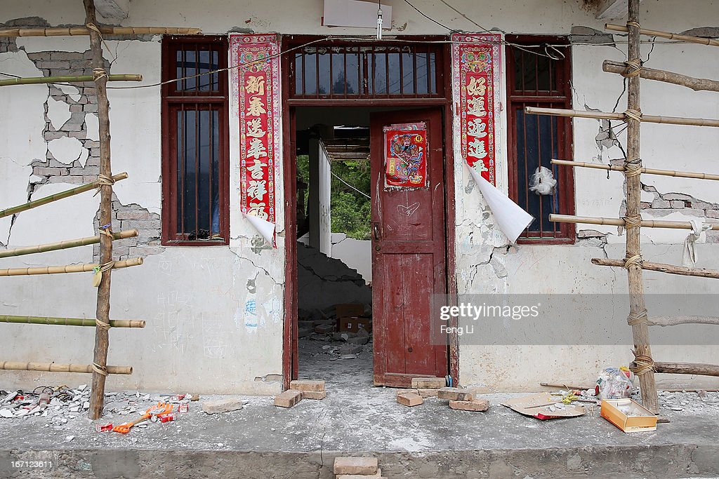 Rubble from a collapsed building after a strong earthquake hit Southwest China's Sichuan Province on April 21, 2013 in Lushan of Ya An, China. A magnitude 7 earthquake hit China's Sichuan province on April 20 claiming over 160 lives and injuring thousands.