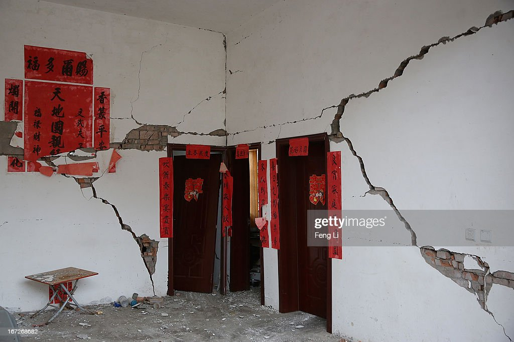 Rubble from a collapsed building after a strong earthquake hit Southwest China's Sichuan Province on April 23, 2013 in Longmen township of Lushan county, China. A magnitude 7 earthquake hit China's Sichuan province on April 20 claiming over 190 lives and injuring thousands.