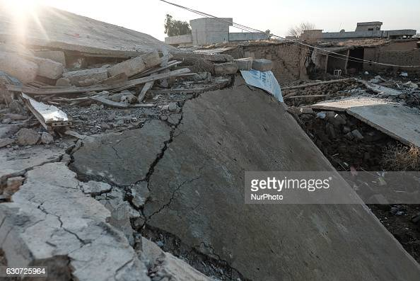 Rubble of destroyed house in Tel Laban/ Gazakan on 30 December 2016 The Kakai Kurds are returning to their homes as Mosul offensive continiues The...