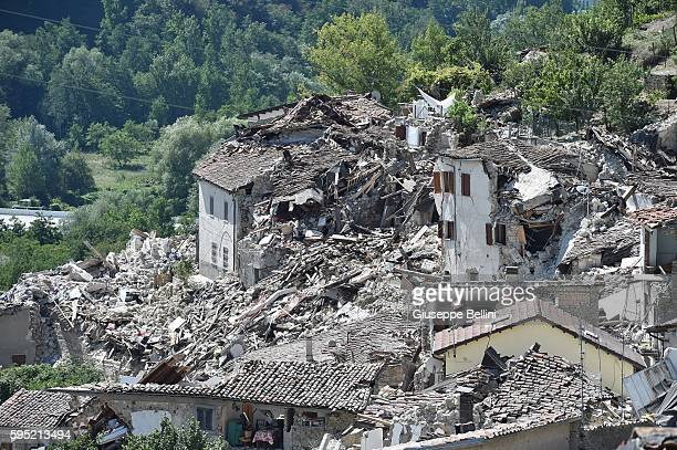 Rubble surrounds damaged buildings on August 25 2016 in Pescara del Tronto Italy The death toll in the 62 magnitude earthquake that struck around the...