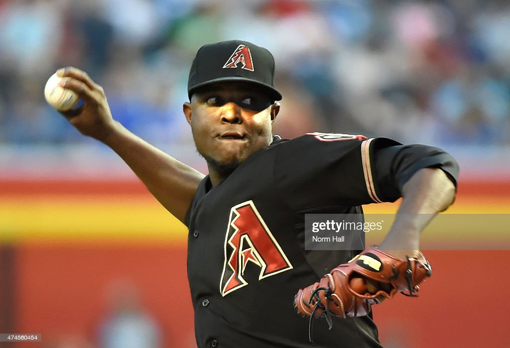 Rubby De La Rosa of the Arizona Diamondbacks delivers a first inning pitch against the Chicago Cubs at Chase Field on May 23 2015 in Phoenix Arizona