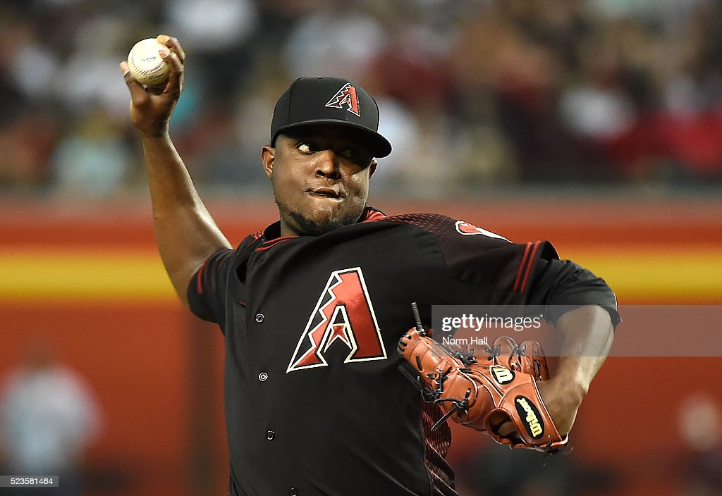 Rubby De La Rosa of the Arizona Diamondbacks delivers a first inning pitch against the Pittsburgh Pirates at Chase Field on April 23 2016 in Phoenix...
