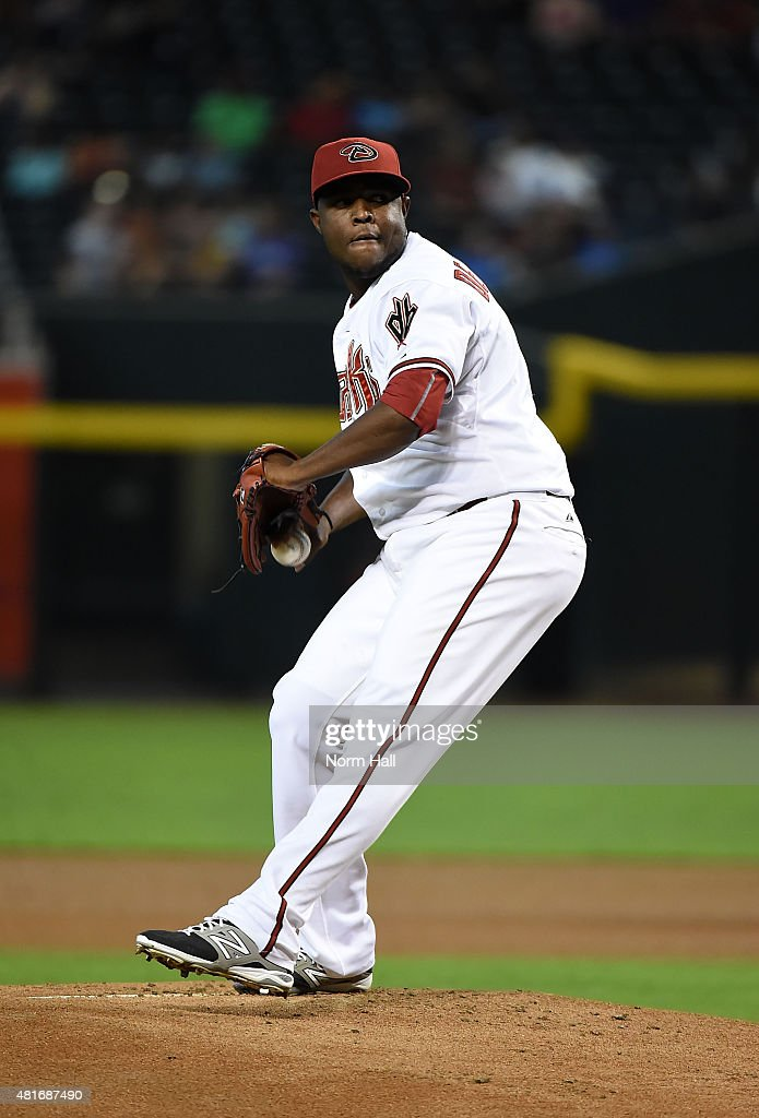 Rubby De La Rosa of the Arizona Diamondbacks delivers a pitch against the Miami Marlins at Chase Field on July 20 2015 in Phoenix Arizona