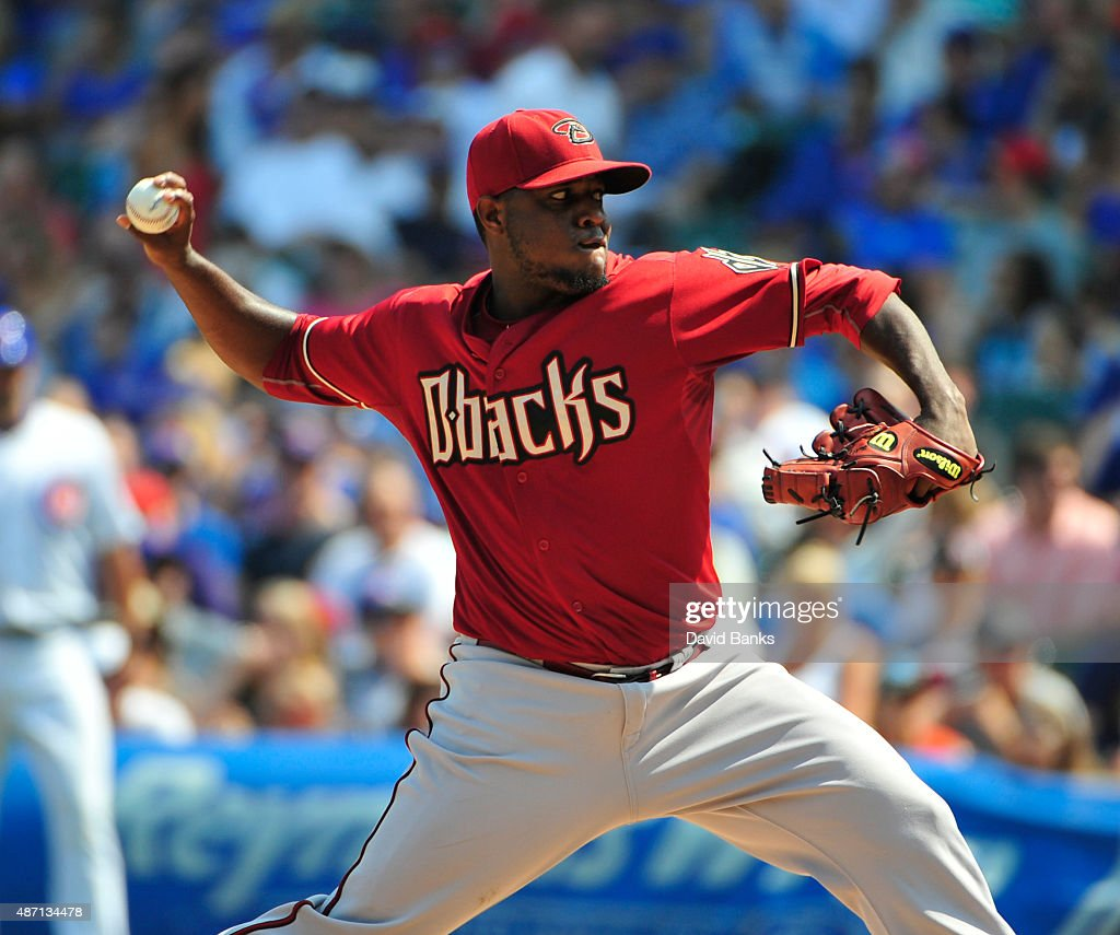Rubby De La Rosa of the Arizona Diamondbacks pitches against the Chicago Cubs during the first inning on September 6 2015 at Wrigley Field in Chicago...