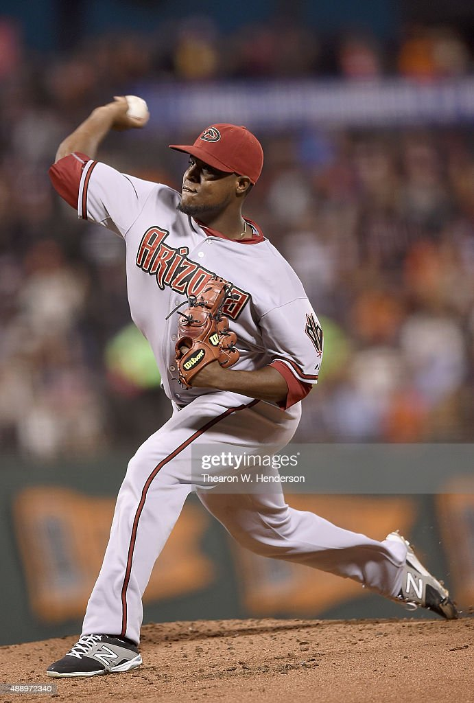 Rubby De La Rosa of the Arizona Diamondbacks pitches against the San Francisco Giants in the bottom of the first inning at ATT Park on September 18...