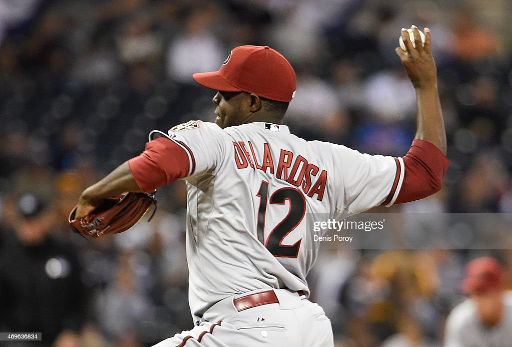 Rubby De La Rosa of the Arizona Diamondbacks pitches during the second inning of a baseball game against the San Diego Padres at Petco Park April 13...
