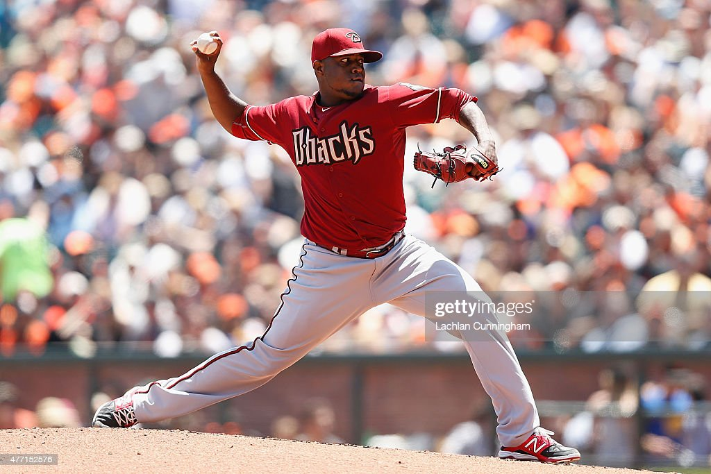 Rubby De La Rosa of the Arizona Diamondbacks pitches in the first inning against the San Francisco Giants at ATT Park on June 14 2015 in San...