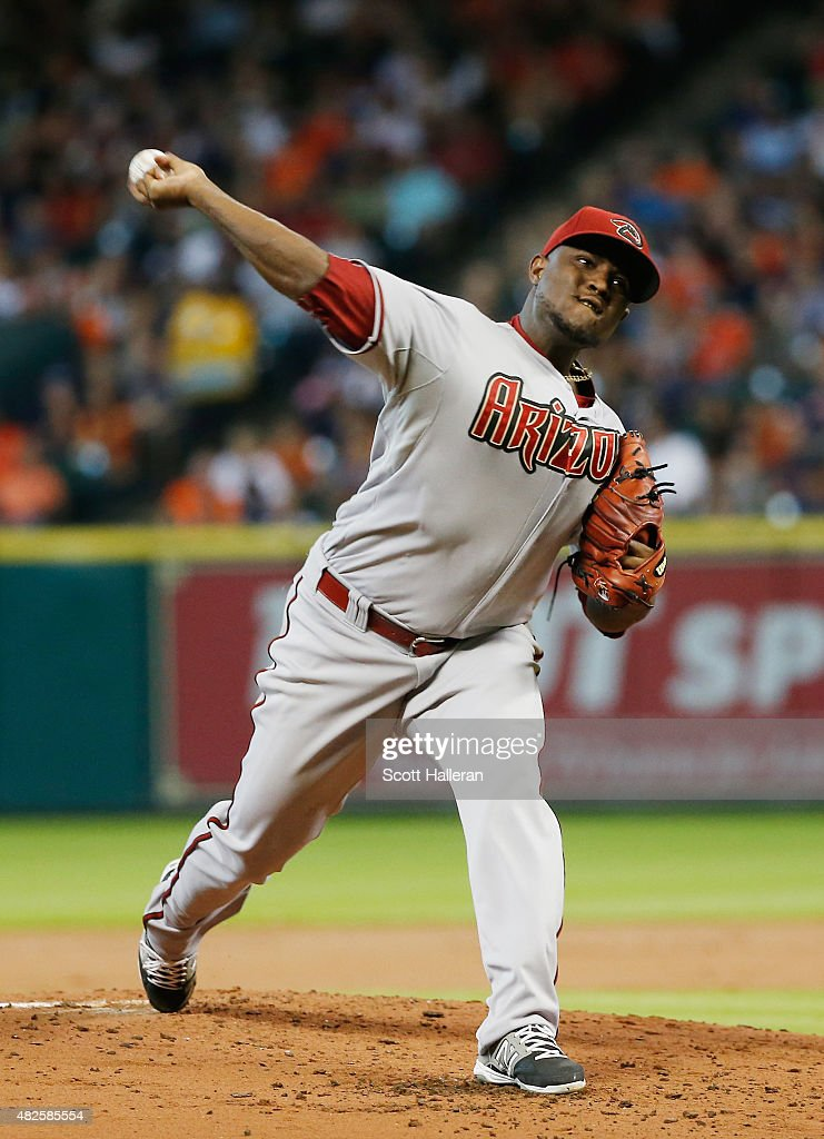 Rubby De La Rosa of the Arizona Diamondbacks throws a pitch in the first inning during their game against the Houston Astros at Minute Maid Park on...