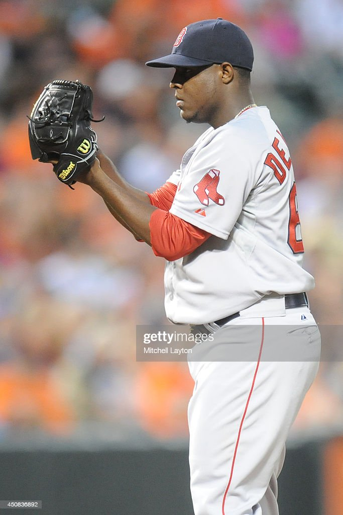 Rubby De La Rosa of the Boston Red Sox pitches during a baseball game against the Baltimore Orioles on June 11 2014 at Oriole Park at Camden Yards in...