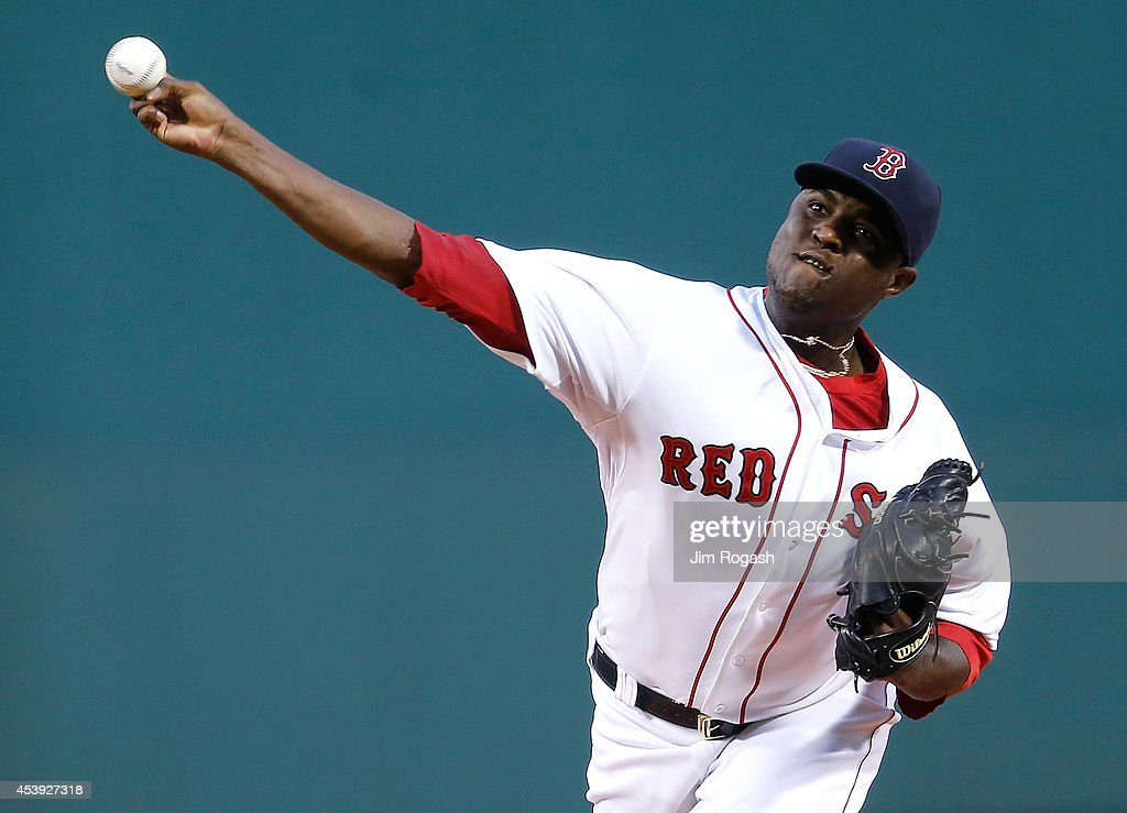 Rubby De La Rosa of the Boston Red Sox throw in the first inning against the Los Angeles Angels at Fenway Park on August 21 2014 in Boston...