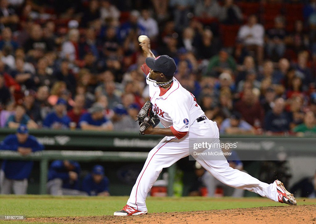 Rubby De La Rosa of the Boston Red Sox throws a pitch in the ninth inning against the Toronto Blue Jays at Fenway Park on September 21 2013 in Boston...